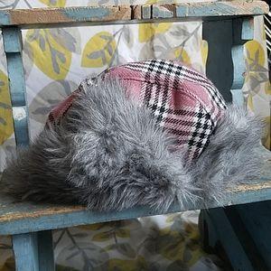 Pink Plaid Faux Fur Winter Hat